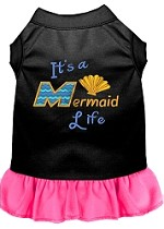 Mermaid Life Embroidered Dog Dress Black with Bright Pink Sm (10)