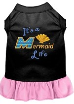 Mermaid Life Embroidered Dog Dress Black with Light Pink Sm (10)