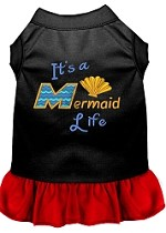 Mermaid Life Embroidered Dog Dress Black with Red Sm (10)
