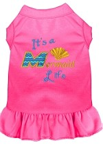 Mermaid Life Embroidered Dog Dress Bright Pink Sm (10)