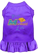Mermaid Life Embroidered Dog Dress Purple Sm (10)