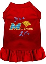 Mermaid Life Embroidered Dog Dress Red Sm (10)