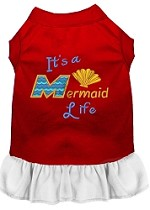 Mermaid Life Embroidered Dog Dress Red with White Sm (10)