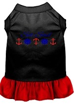 Set Sail Embroidered Dog Dress Black with Red Sm (10)