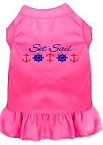 Set Sail Embroidered Dog Dress Bright Pink Sm (10)