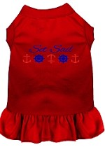 Set Sail Embroidered Dog Dress Red Sm (10)