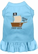 Poop Deck Embroidered Dog Dress Baby Blue XL