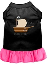 Poop Deck Embroidered Dog Dress Black with Bright Pink Sm