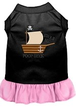 Poop Deck Embroidered Dog Dress Black with Light Pink XXL