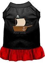 Poop Deck Embroidered Dog Dress Black with Red Sm