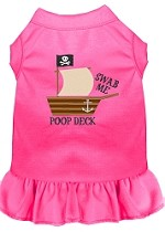 Poop Deck Embroidered Dog Dress Bright Pink XL