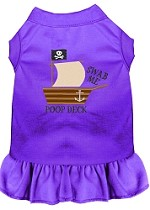 Poop Deck Embroidered Dog Dress Purple 4X