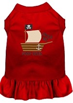 Poop Deck Embroidered Dog Dress Red XL