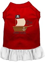 Poop Deck Embroidered Dog Dress Red with White Sm