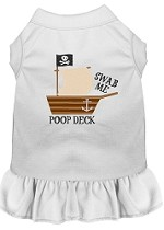 Poop Deck Embroidered Dog Dress White XL