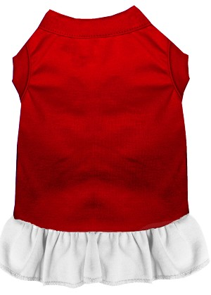 Plain Pet Dress Red with White XXXL