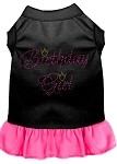 Birthday Girl Rhinestone Dress Black with Bright Pink XS