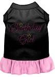 Birthday Girl Rhinestone Dresses Black with Light Pink XS