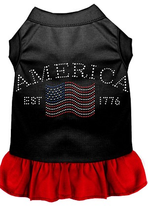 Classic America Rhinestone Dress Black with Red XS (8)
