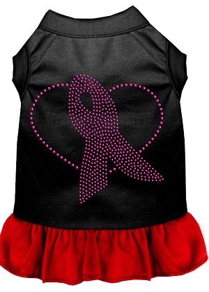 Pink Ribbon Rhinestone Dress Black with Red Lg (14)