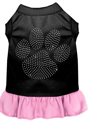 Rhinestone Clear Paw Dress Black with Light Pink XXXL (20)