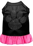 Rhinestone Clear Paw Dress Black with Bright Pink XS (8)