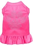 Rhinestone Clear Paw Dress Bright Pink Med (12)