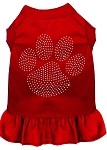 Rhinestone Clear Paw Dress Red Med (12)