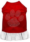 Rhinestone Clear Paw Dress Red with White XS (8)