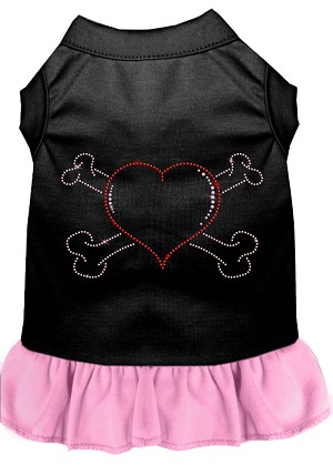 Rhinestone Heart and crossbones Dress Black with Light Pink XXXL (20)