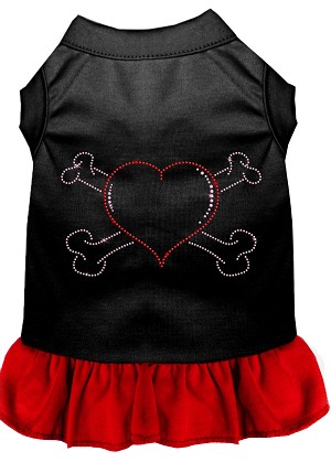 Rhinestone Heart and crossbones Dress Black with Red Lg (14)