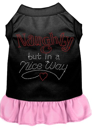 Rhinestone Naughty but in a nice way Dress Black with Light Pink XXL (18)