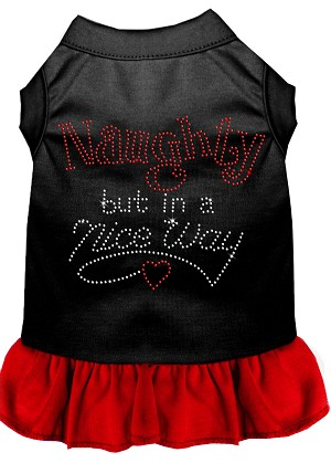 Rhinestone Naughty but in a nice way Dress Black with Red Lg (14)