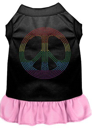 Rhinestone Rainbow Peace Dress Black with Light Pink Lg