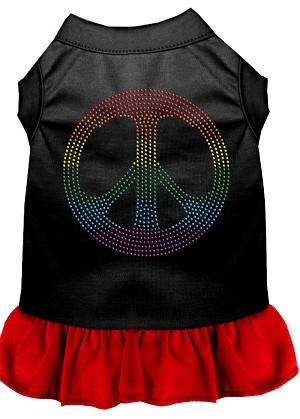 Rhinestone Rainbow Peace Dress Black with Red XXL (18)