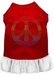 Rhinestone Rainbow Peace Dress Red with White Sm (10)