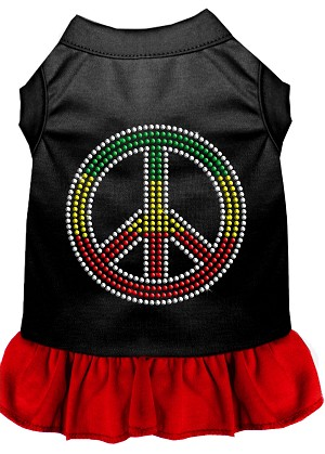Rhinestone Rasta Peace Dress Black with Red XXXL (20)