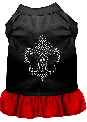 Silver Fleur de Lis Rhinestone Dress Black with Red XL (16)