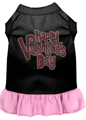 Happy Valentines Day Rhinestone Dress Black with Light Pink XS (8)