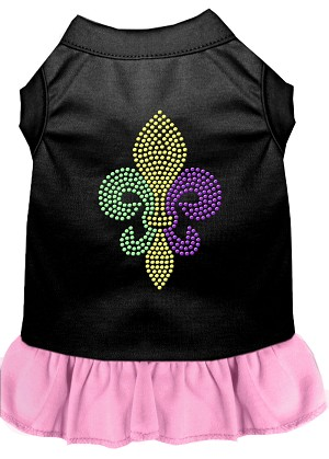 Mardi Gras Fleur De Lis Rhinestone Dress Black with Light Pink Lg (14)
