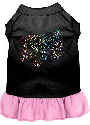 Technicolor Love Rhinestone Pet Dress Black with Light Pink Sm (10)