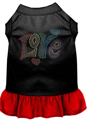 Technicolor Love Rhinestone Pet Dress Black with Red Lg (14)