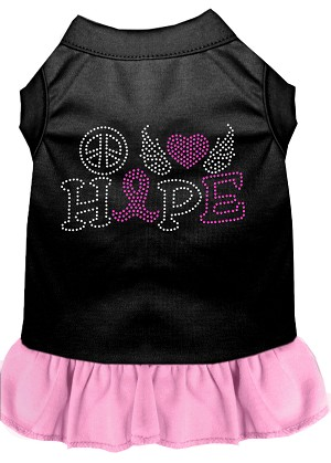 Peace Love Hope Breast Cancer Rhinestone Pet Dress Black with Light Pink XS