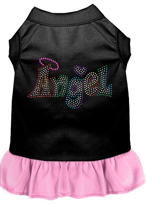 Technicolor Angel Rhinestone Pet Dress Black with Light Pink Med (12)