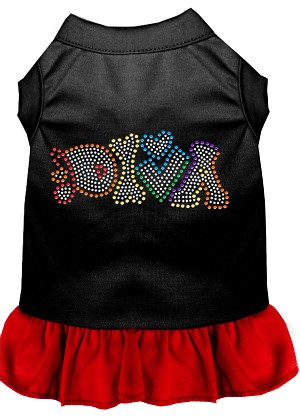 Technicolor Diva Rhinestone Pet Dress Black with Red Sm (10)