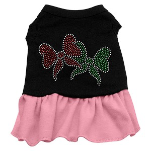 Christmas Bows Rhinestone Dress Black with Light Pink Sm (10)