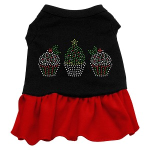 Christmas Cupcakes Rhinestone Dress Black with Red XS (8)