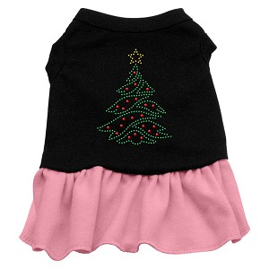 Christmas Tree Rhinestone Dress Black with Light Pink XS (8)