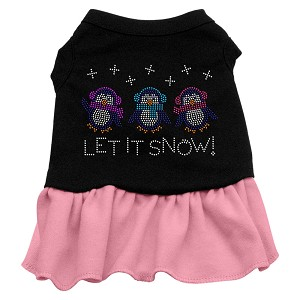 Let it Snow Penguins Rhinestone Dress Black with Light Pink Sm (10)