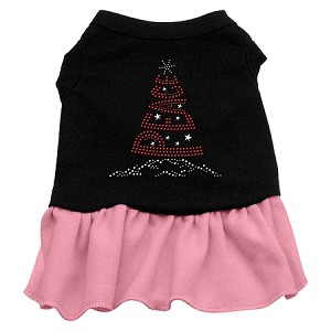 Peace Tree Rhinestone Dress Black with Light Pink XL (16)